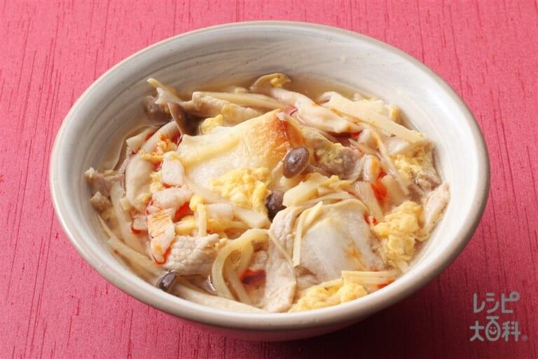 酸辣湯風もち入りスープ(寄せ鍋しょうゆ)