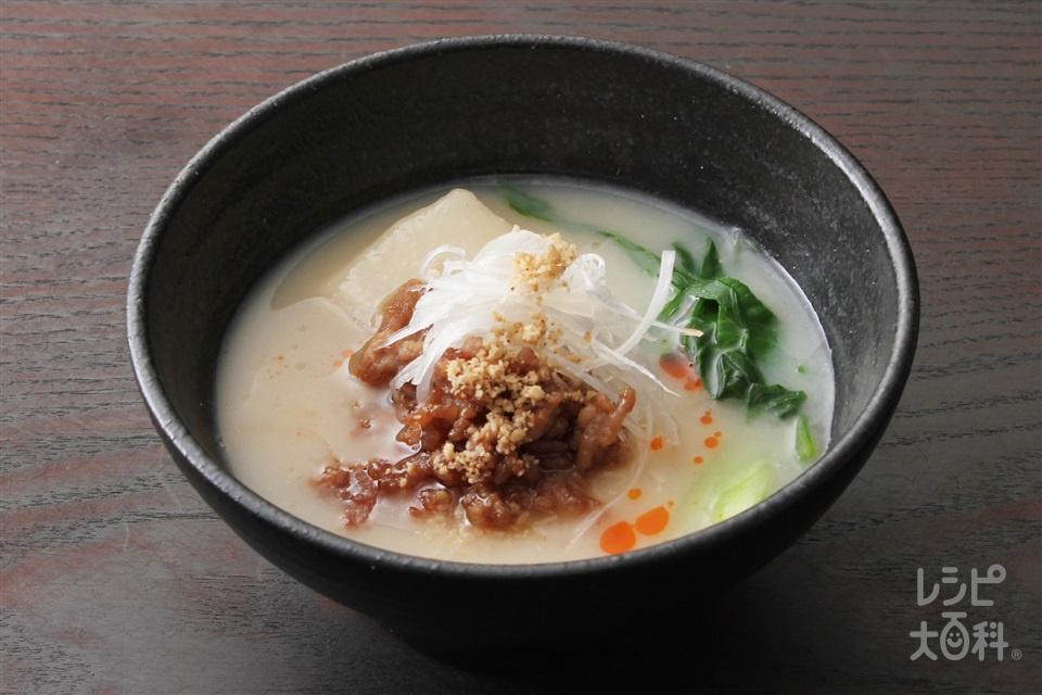担々もち(濃厚白湯)(切り餅+豚ひき肉を使ったレシピ)