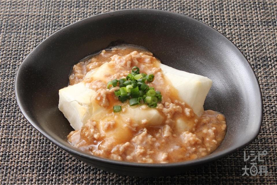 もちのそぼろあんかけ(とんこつ味噌)(切り餅+豚ひき肉を使ったレシピ)