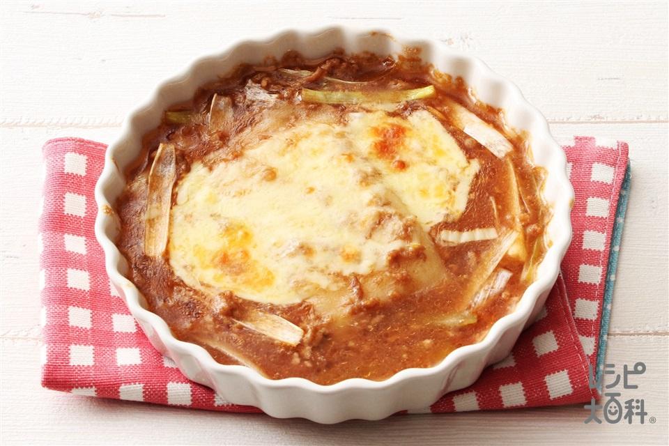みそグラタン(とんこつ味噌)(切り餅+豚ひき肉を使ったレシピ)
