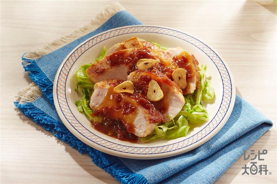 やわらか鶏むねステーキ ガリバタしょうゆソース(鶏むね肉+キャベツを使ったレシピ)