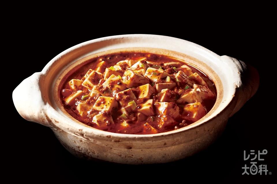 あらびき肉入り黒麻婆豆腐 中辛(絹ごし豆腐+長ねぎを使ったレシピ)