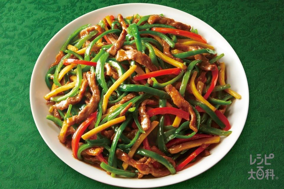 青椒肉絲(牛もも薄切り肉+たけのこの水煮を使ったレシピ)