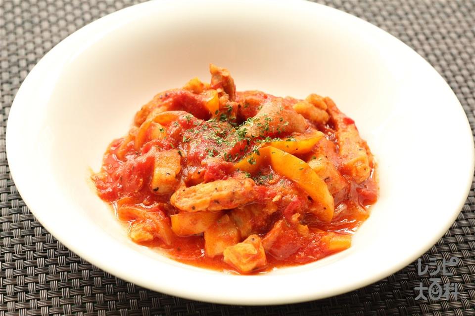 豚肉のソテー~トマトソース~(豚ロースとんかつ用肉+トマト水煮缶を使ったレシピ)
