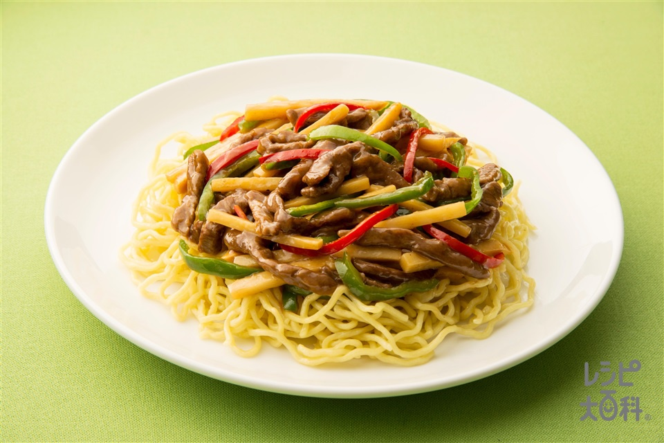 青椒肉絲麺(中華めん+牛薄切り肉を使ったレシピ)