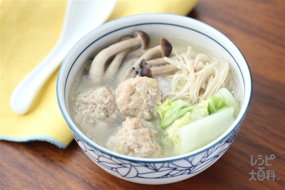 ふわふわ鶏だんごスープ(鶏ひき肉+Aねぎのみじん切りを使ったレシピ)
