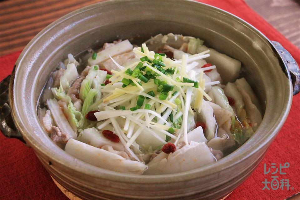 中華風白菜と豚バラ肉の重ね鍋(白菜+豚バラ薄切り肉を使ったレシピ)
