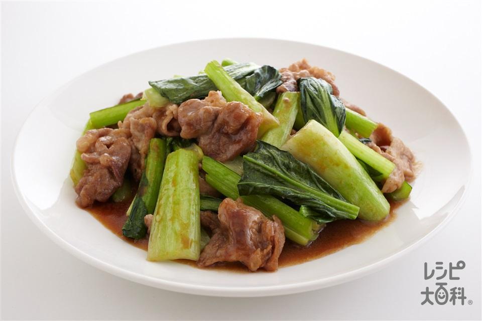 豚肉と小松菜のオイスター炒め(豚こま切れ肉+小松菜を使ったレシピ)