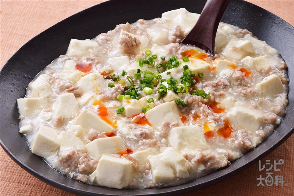 塩麻婆豆腐(絹ごし豆腐+豚ひき肉を使ったレシピ)