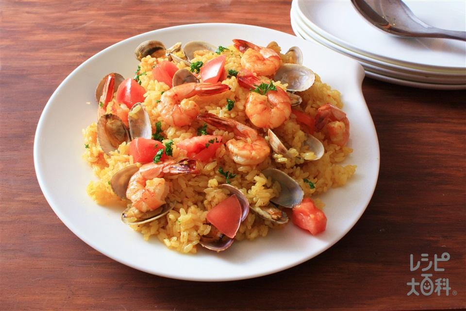 エビとアサリの炊くだけパエリア(米+えびを使ったレシピ)