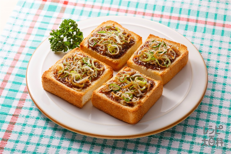 しらすとねぎの味噌マヨトースト(食パン6枚切り+しらす干しを使ったレシピ)