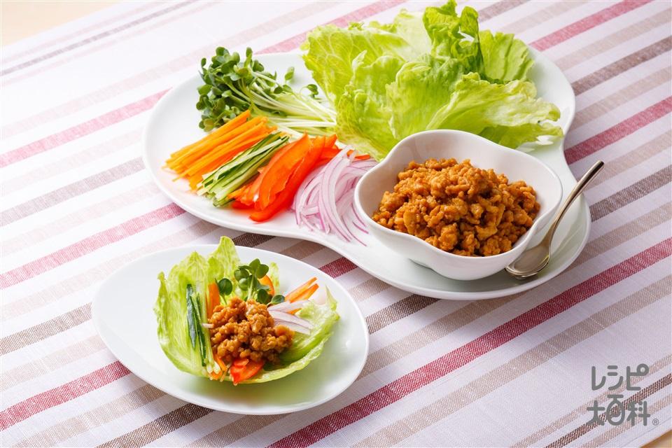 味噌マヨのレタスカップサラダ(鶏ひき肉+しょうがのみじん切りを使ったレシピ)