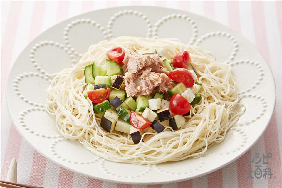 野菜たっぷりまぜそうめん(そうめん+A「AJINOMOTO オリーブオイル」を使ったレシピ)
