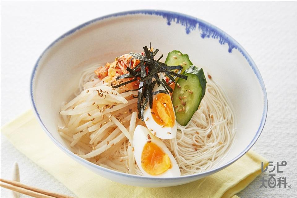 鶏だしキムチそうめん(そうめん+A「丸鶏がらスープ」を使ったレシピ)