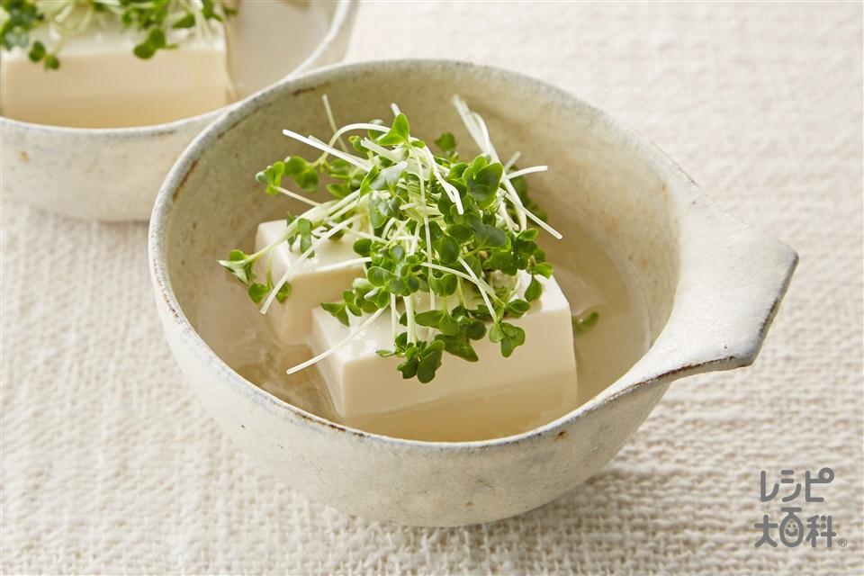 鶏だし湯豆腐(絹ごし豆腐+ブロッコリースプラウトを使ったレシピ)