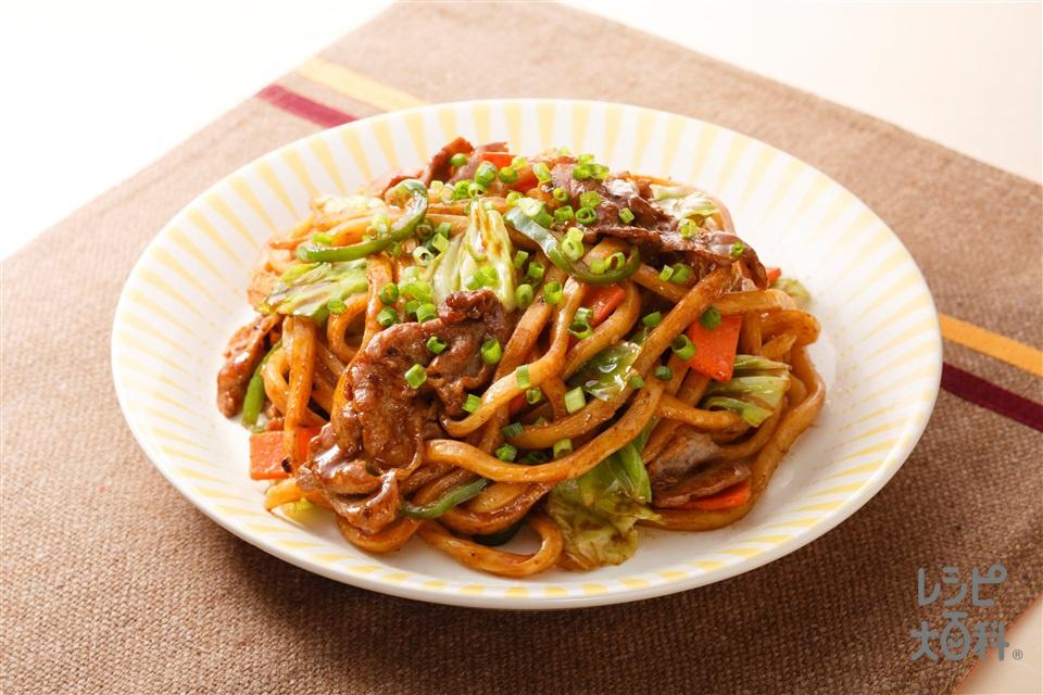 味噌マヨ焼きうどん(ゆでうどん+袋入りカット野菜(キャベツミックス)を使ったレシピ)