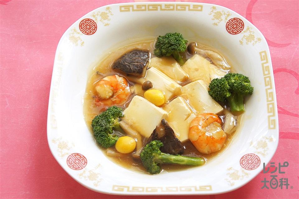 えびと豆腐のオイスターソース煮込み(無頭えび+絹ごし豆腐を使ったレシピ)
