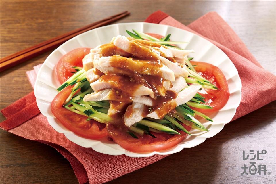 しっとりやわらか棒棒鶏(鶏むね肉(皮なし)+「お肉やわらかの素」を使ったレシピ)