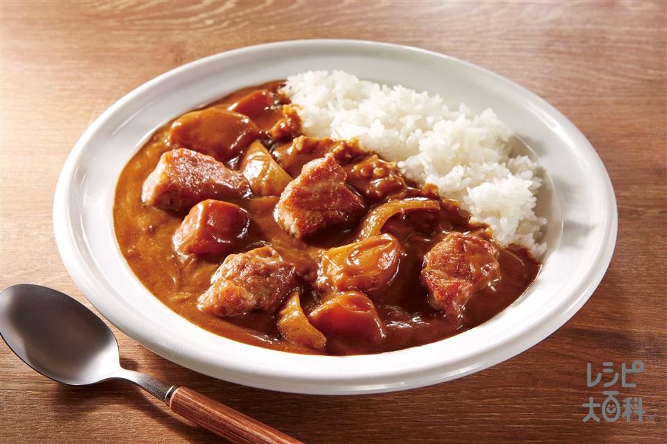 やわらかお肉のカレーライス(玉ねぎ+ご飯を使ったレシピ)