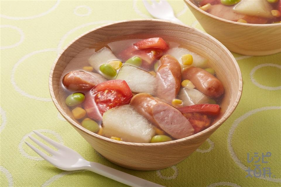 とうがんとトマトのスープ野菜(とうがん+トマトを使ったレシピ)