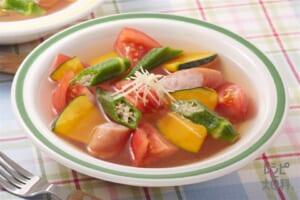 かぼちゃとオクラのスープ野菜