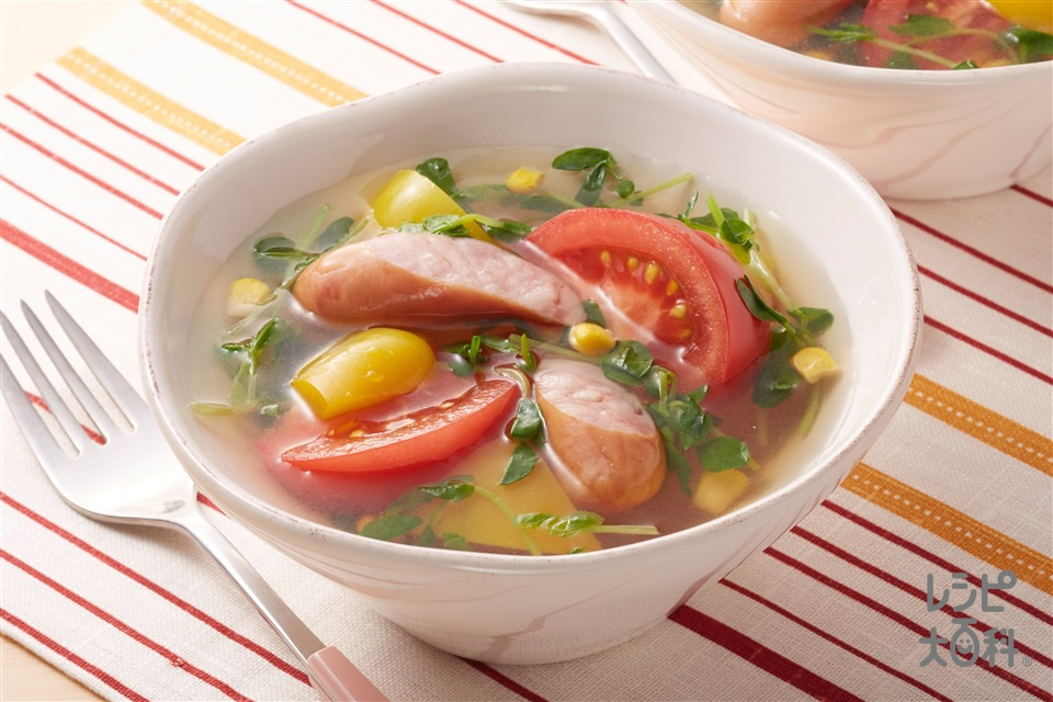 トマトと豆苗のスープ野菜(トマト+パプリカ(赤)を使ったレシピ)