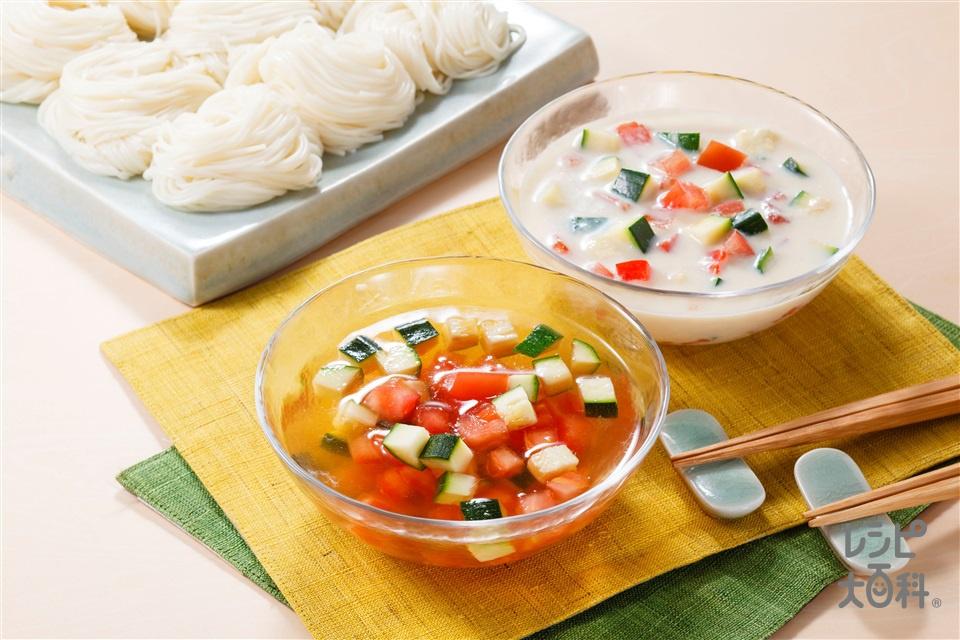 コロコロ野菜のコンソメそうめん 豆乳ver.(そうめん+豆乳(無調整)を使ったレシピ)