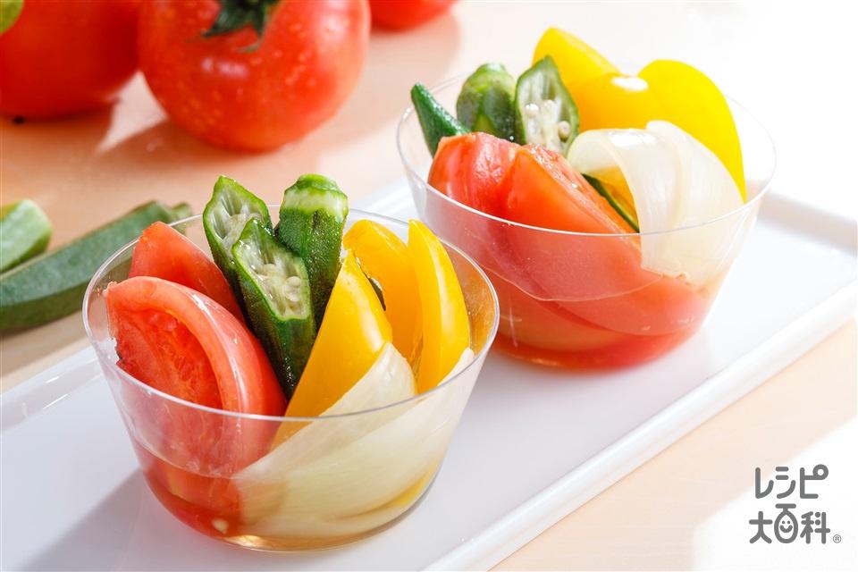 夏野菜の彩りマリネ(トマト+パプリカ(黄)を使ったレシピ)