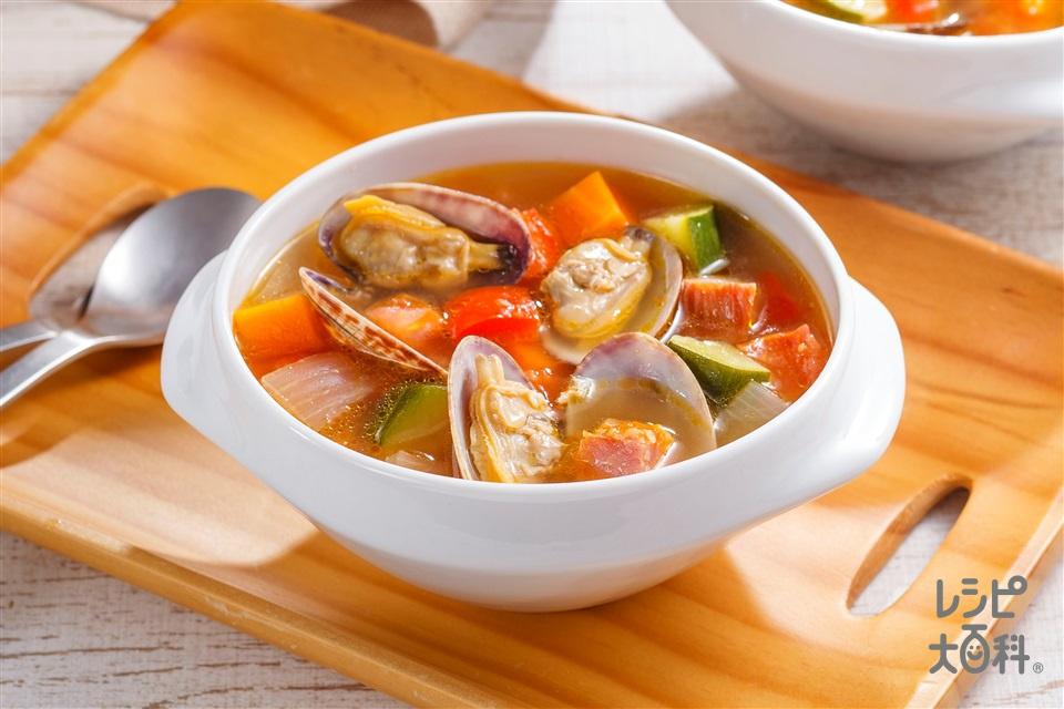 トマトとあさりのごちそうスープ(トマト+玉ねぎを使ったレシピ)