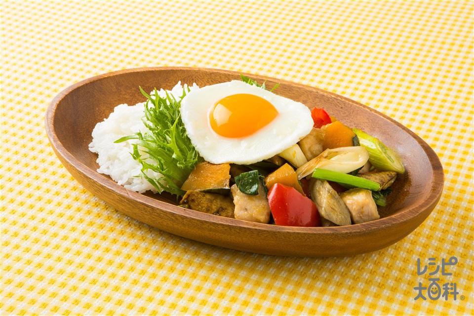 カラフルベジのロコモコ風(卵+ご飯を使ったレシピ)