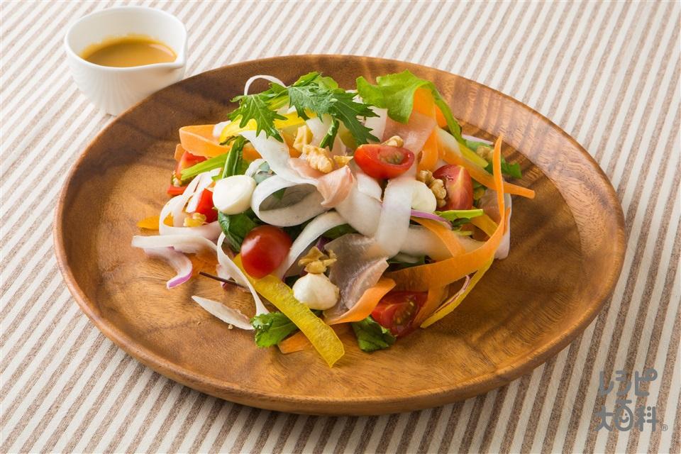 カラフルリボンサラダ(大根+レッドオニオンを使ったレシピ)
