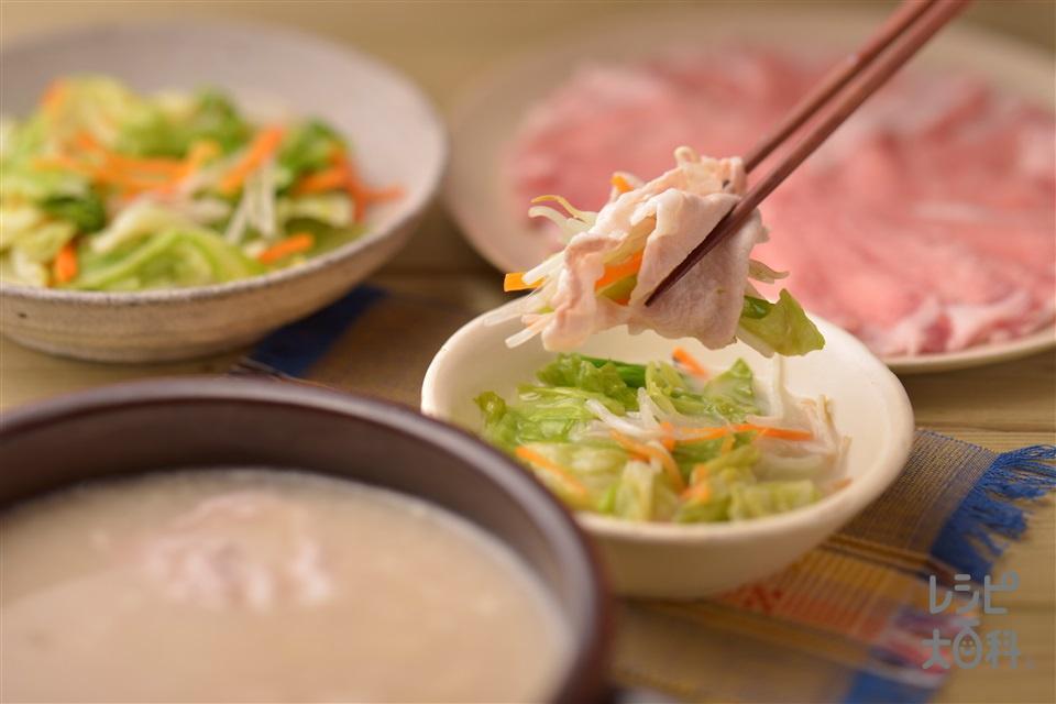 ナイスリメイク!豚しゃぶのキャベツナムル巻き(豚しゃぶしゃぶ用肉+もやしを使ったレシピ)