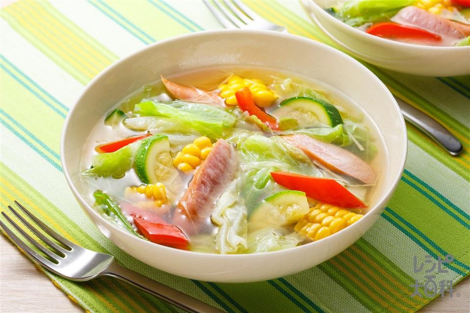 キャベツのスープ野菜(キャベツ+とうもろこしを使ったレシピ)