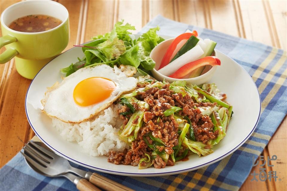 肉みそキャベツプレート(キャベツ+ご飯を使ったレシピ)
