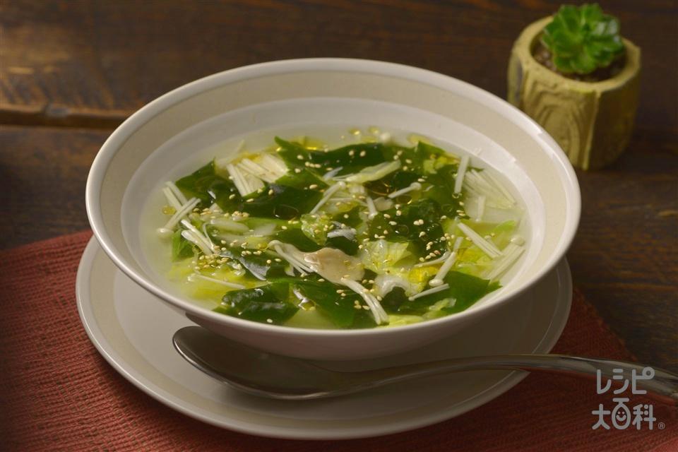 ナイスリメイク!レンチン白菜スープ(白菜の中華風ごまあえ+えのきだけを使ったレシピ)