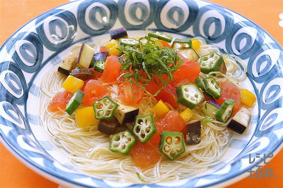 トマトとなすの冷製パスタ(カッペリーニ+トマトを使ったレシピ)