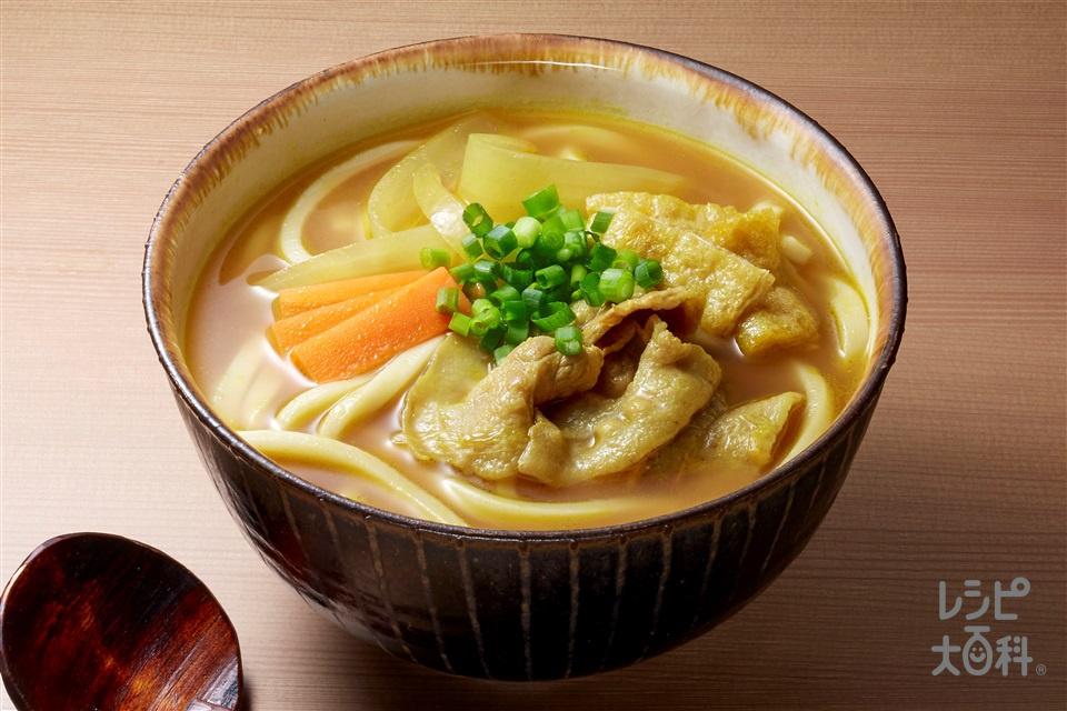 カレーうどん(うどん+豚バラ薄切り肉を使ったレシピ)