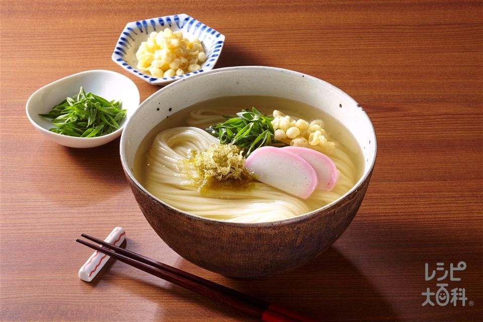 焼きあご香るうどん(干しうどん+かまぼこ(薄切り)を使ったレシピ)