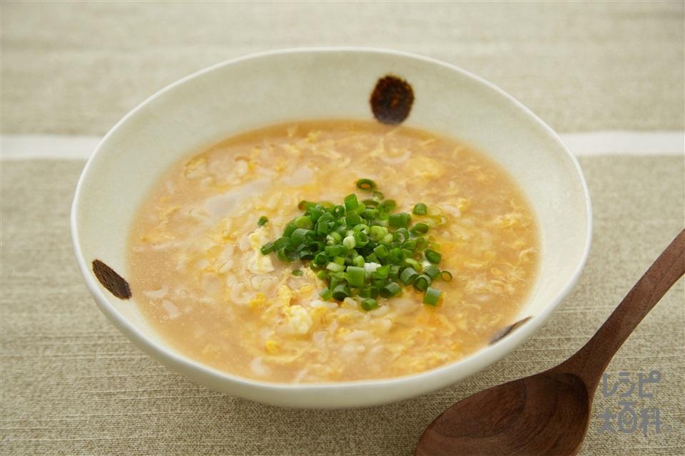 ホタテと鶏ガラ香る!雑炊(ご飯+卵を使ったレシピ)
