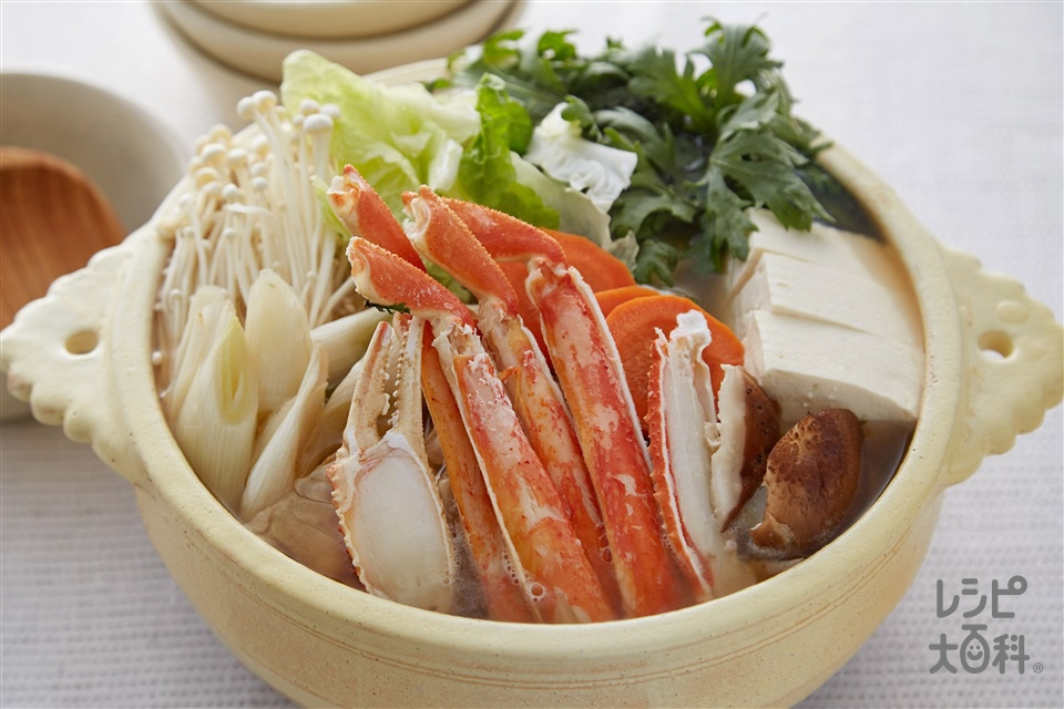 カニ鍋(かにの足+木綿豆腐を使ったレシピ)