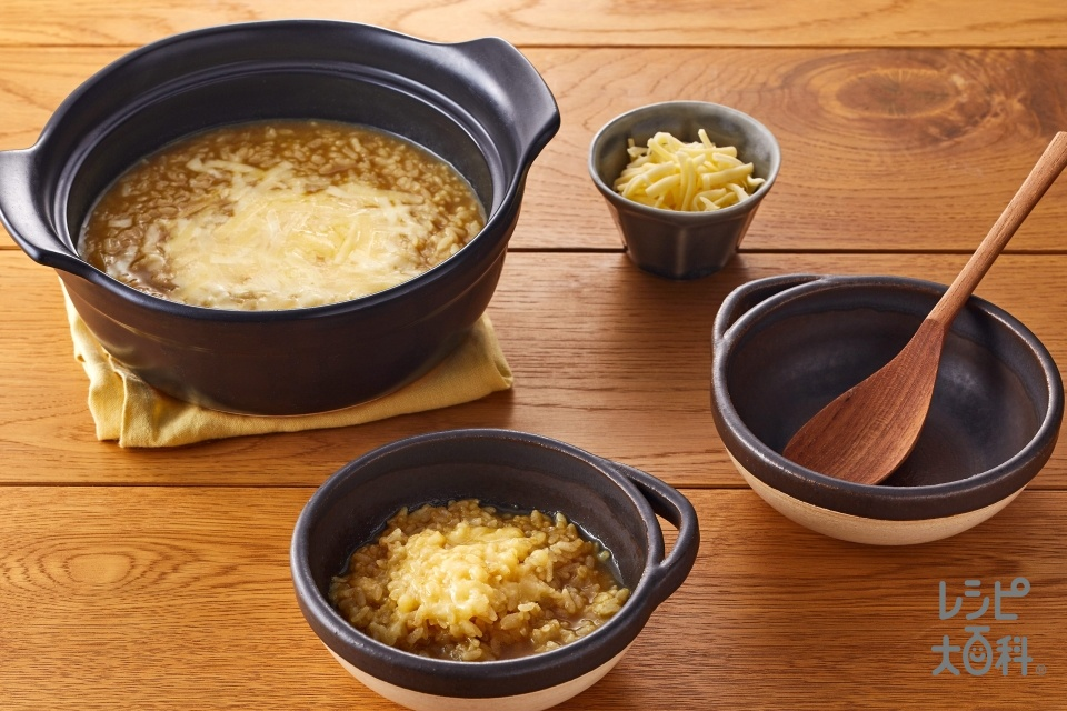 スープカレー鍋のシメ チーズリゾット(ご飯+シュレッドチーズを使ったレシピ)