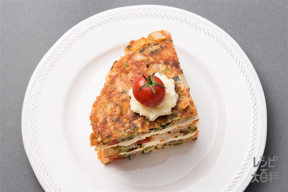 フライパンで簡単!たっぷり野菜のトマト・ケーク・サレ