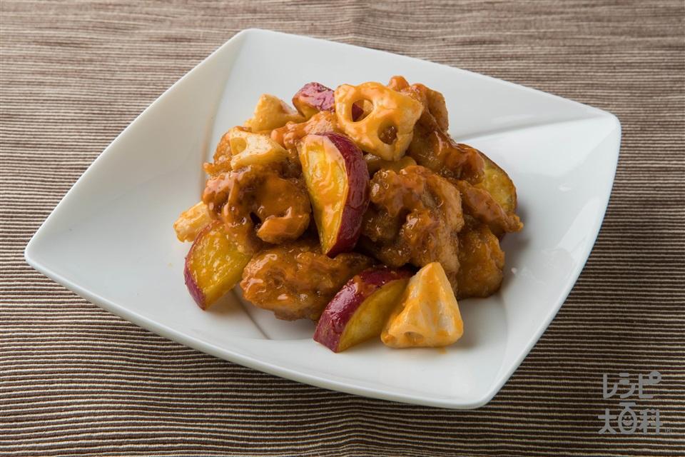 コチュマヨから揚げ(鶏もも肉+さつまいもを使ったレシピ)