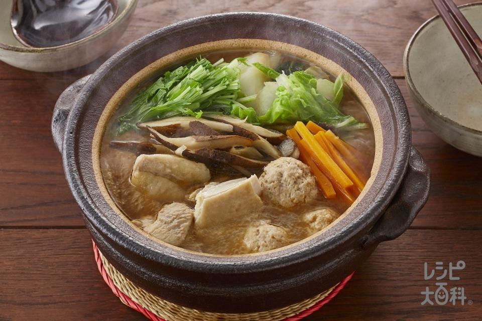 鶏ごぼう鍋(鶏もも肉+鶏ひき肉を使ったレシピ)