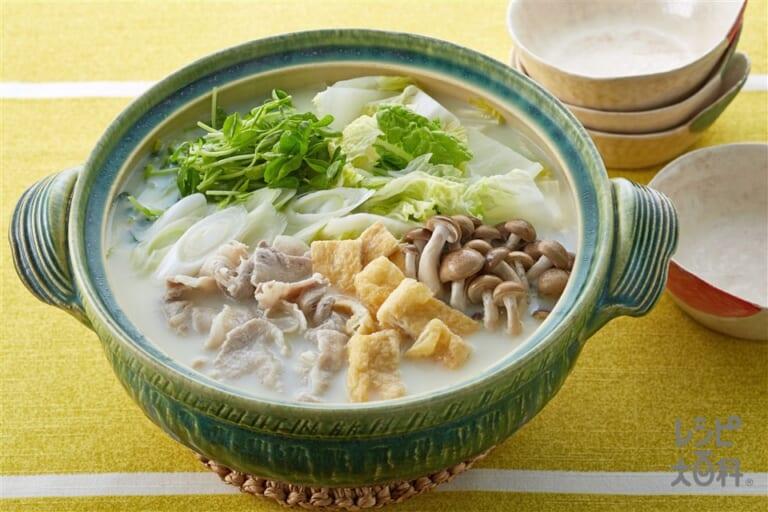 豚バラと豆苗の豆乳鍋