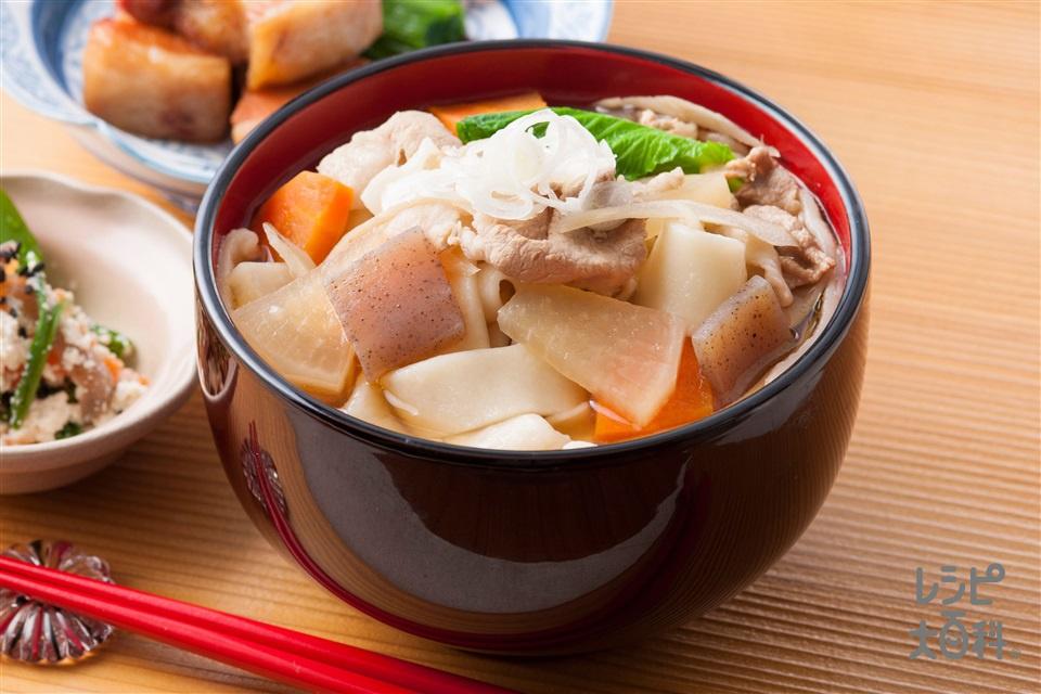 上州麦豚を使用したおっきりこみ(大根+ゆできしめんを使ったレシピ)