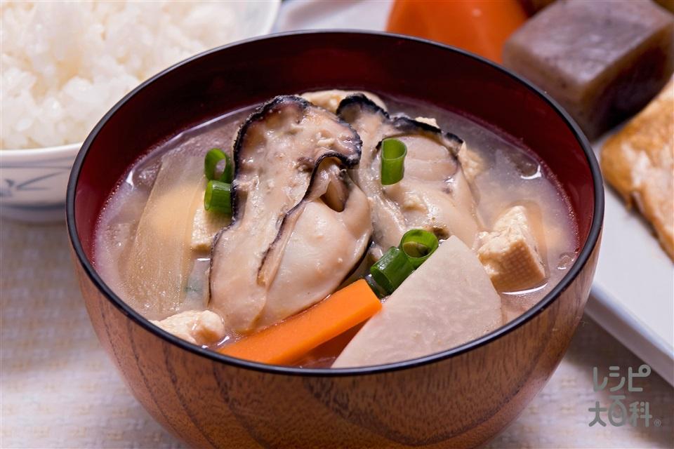 大根と日生産カキのけんちん汁(かき(むき身)+木綿豆腐を使ったレシピ)