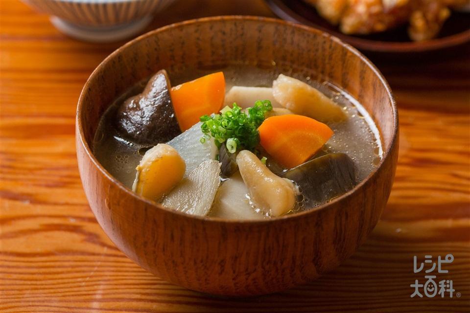 ほんのり海が香る大根と松山長なすのけんちん汁(里いも+帆立貝柱を使ったレシピ)