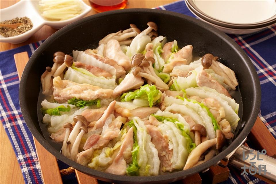 白菜で簡単!鶏だし蒸し鍋(鶏もも肉+白菜を使ったレシピ)