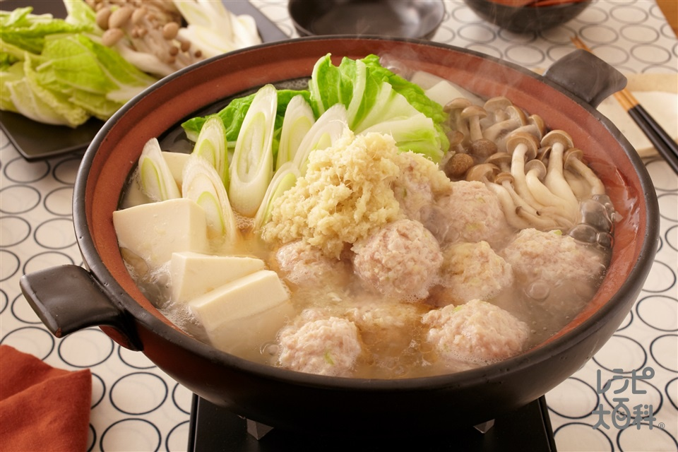 身体ぽかぽか!鶏だし生姜鍋(鶏ひき肉+Aねぎのみじん切りを使ったレシピ)